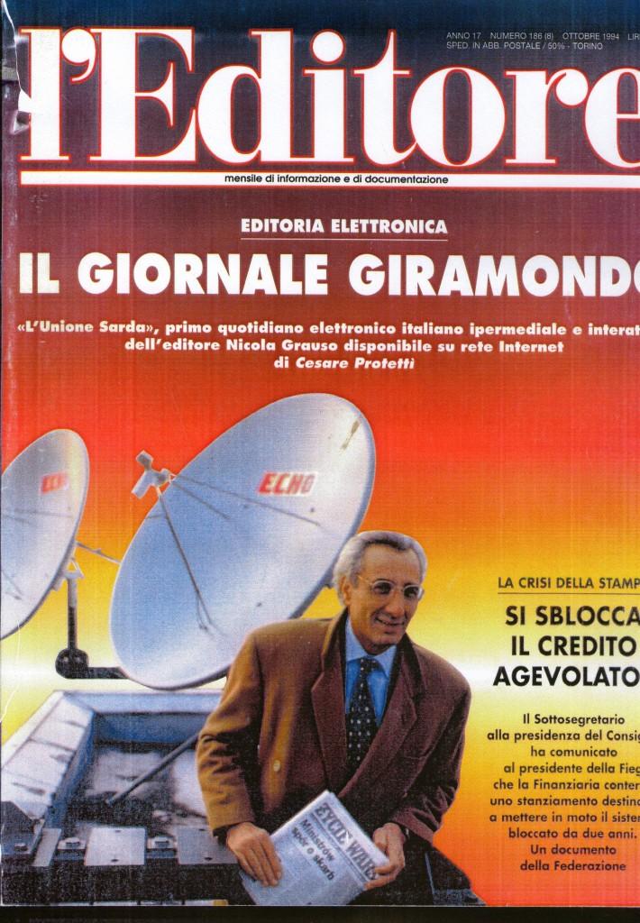 Figura 2 Copertina del mensile L'Editore anno 17 numero 186 Ottobre 1994.