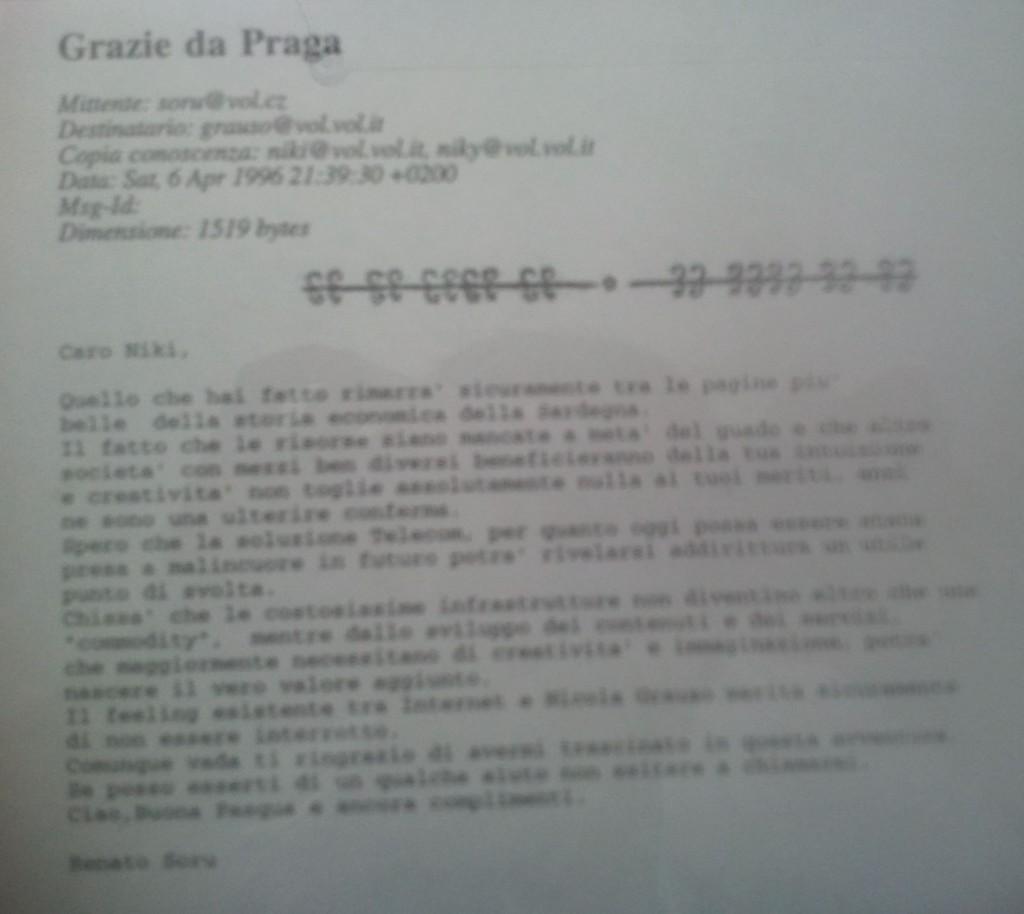 Figura 26 Email scritta da Renato Soru a Nichi Grauso, in archivio privato Nichi Grauso