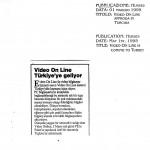 Figura 8 Il giornale turco HURSE  in data 1° maggio 1995 titola Video On Line approda in Turchia
