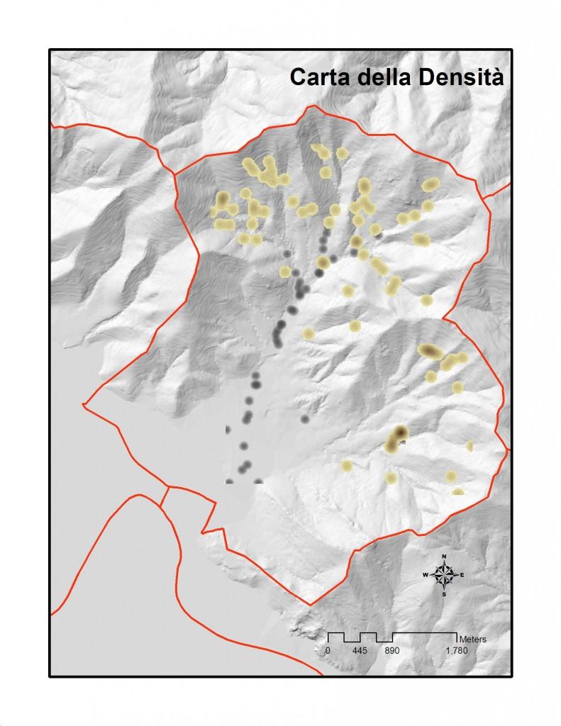 Fig. 4 Carta della densità degli opifici. In colore nero mulini e frantoi, in marrone i metati. Nelle aree puntiformi di colore più marcato si registra una più consistente presenza di opifici. Elaborazione propria