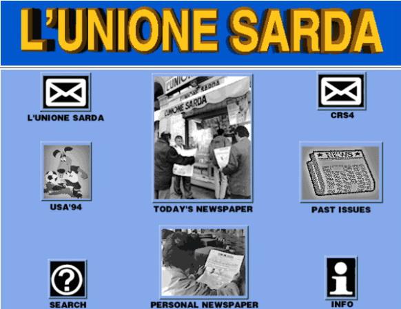 Fig. 1. Homepage del sito dell'Unione Sarda nel 1994.