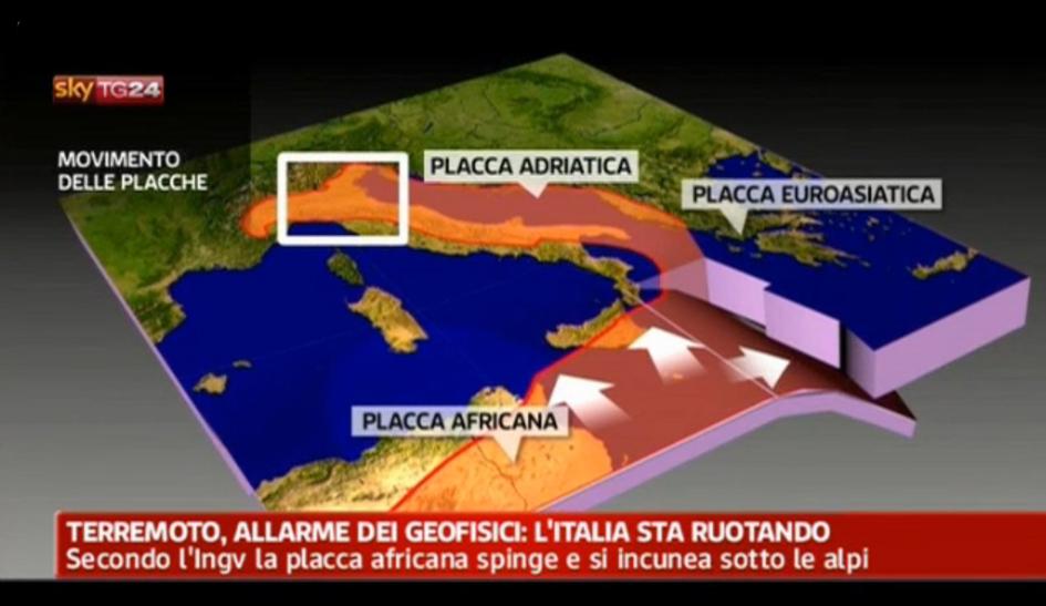 """Fig. 2. Effetto di """"spettacolarizzazione"""" della spiegazione scientifica: """"l'allarme dei geologi"""". Fonte: http://video.sky.it/video/archivio.html. Si veda in particolare la nota 2."""