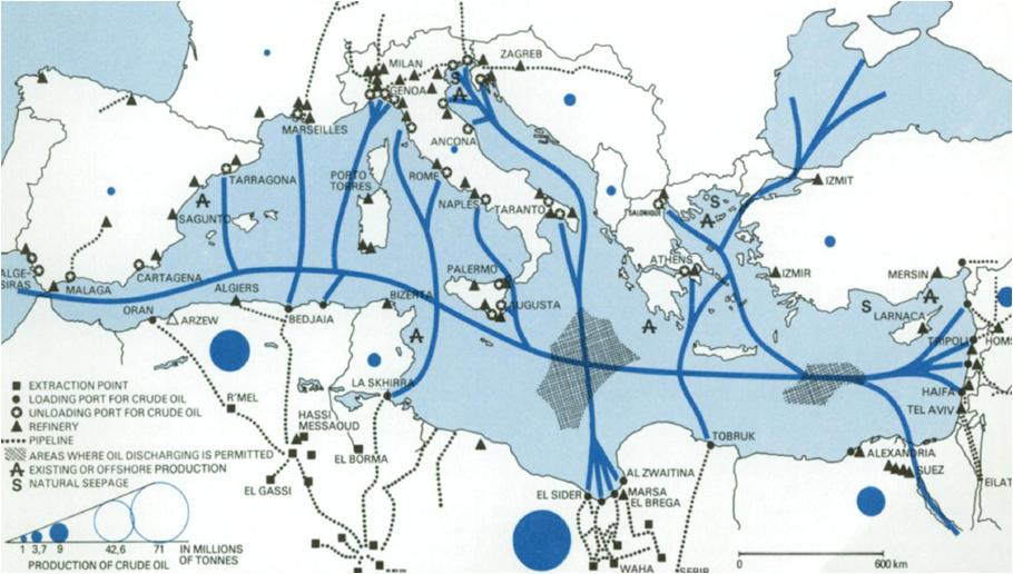 Fig. 5. Produzione e trasporto di petrolio nel bacino del Mediterraneo nel 1977   Fonte: United Nations Environment Programme.