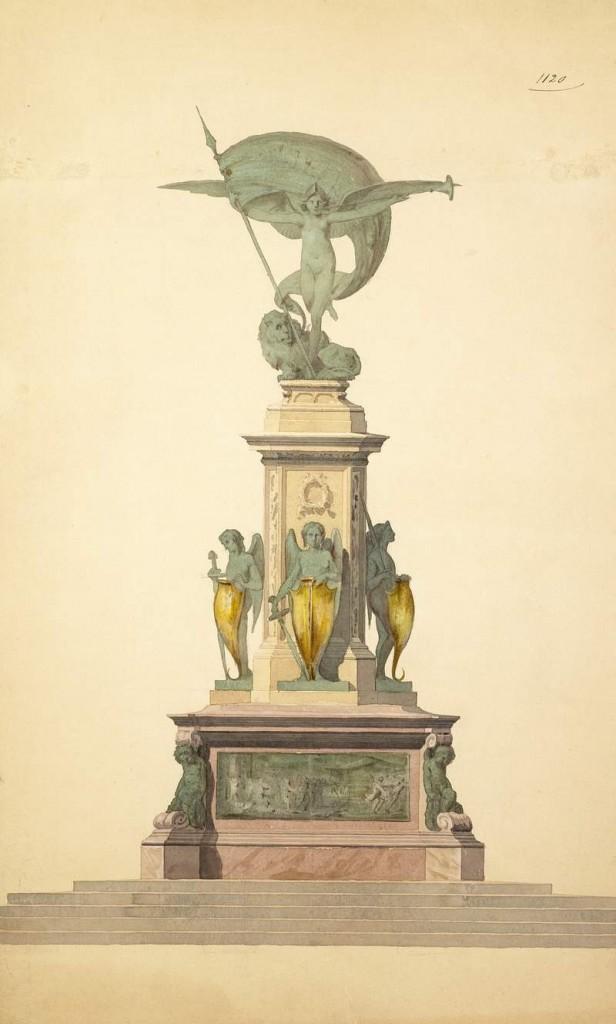 fig. 2 Cincinnato Baruzzi, Progetto per monumento civile allegorico