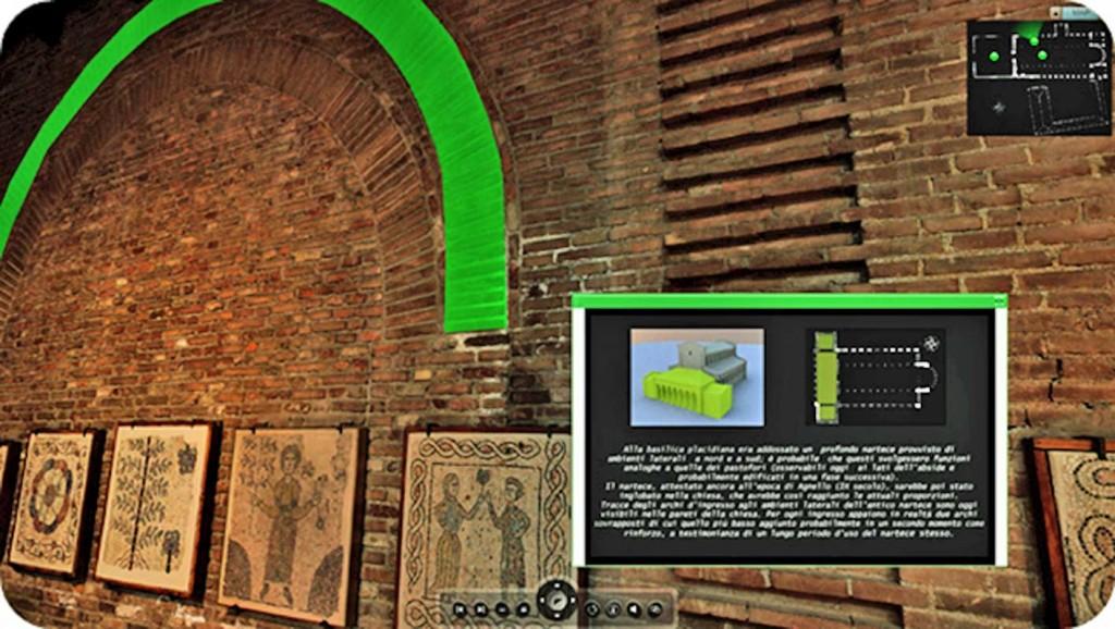 Foto 2. San Giovanni Evangelista, particolare del Tour Virtuale con scheda informativa relativa al primitivo nartece della chiesa.