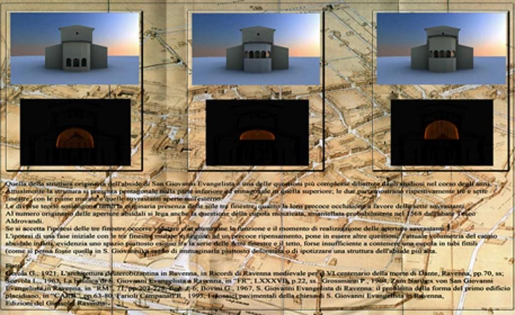 Foto 3. San Giovanni Evangelista, particolare del Tour Virtuale con scheda informativa sulle ipotesi ricostruttive dell'abside