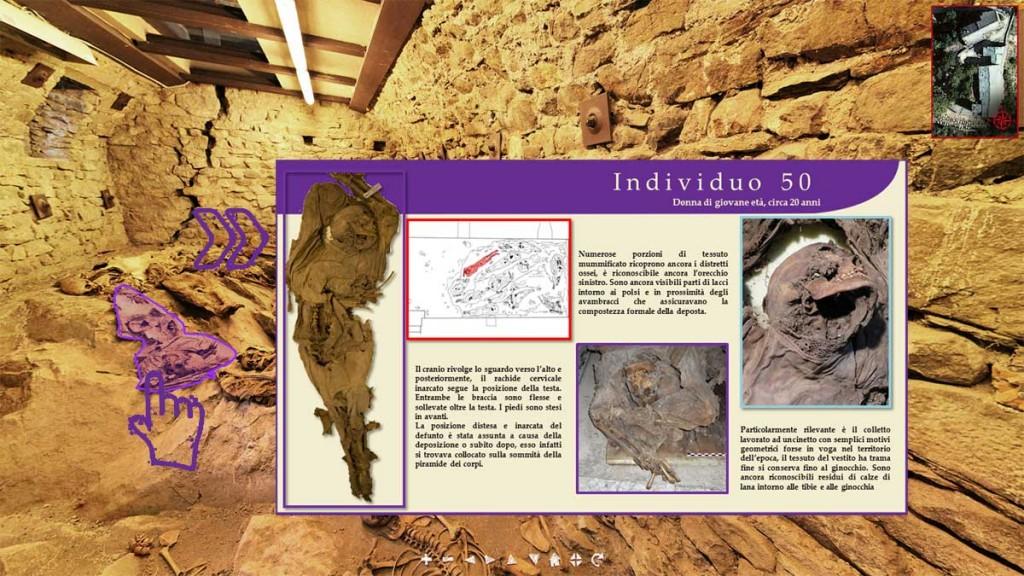 Foto 5. Roccapelago (MO), Tour Virtuale con informazioni sul singolo individuo.