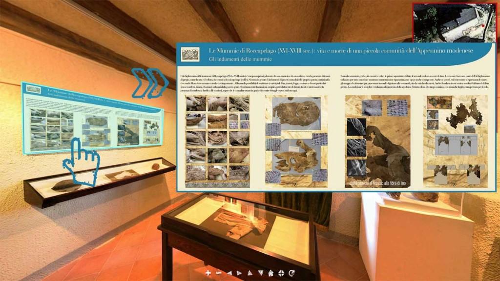 Foto 6. Roccapelago (MO), Tour Virtuale con informazioni sugli oggetti e sulle vesti esposte nel museo.