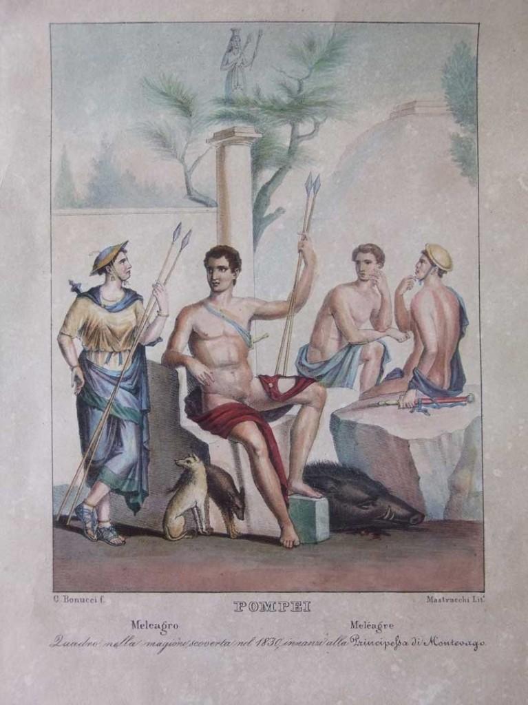Tavola colorata presente nell'edizione di Pompei descritta del 1837 riproducente un affresco pompeiano che ha per soggetto Meleagro