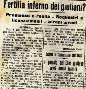 """Foto 4. """"La Nuova Sardegna"""", 22 maggio 1951."""