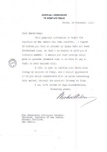 Immagine 1. Nota del Presidente Woodrow Wilson al Capitano Reggente S.E. Protogene Belloni del 23 dicembre 1918, fondo Segreteria Affari esteri – Archivio di Stato della Repubblica di San Marino.