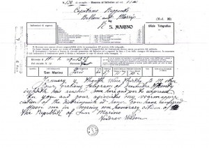 Immagine 2. Telegramma di Woodrow Wilson ai Capitani Reggenti di San Marino a seguito del conferimento della cittadinanza onoraria, fondo Segreteria Affari esteri, Archivio di Stato della Repubblica di San Marino.