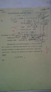 Immagine 3. Telegramma Protocollo Routine 2297 dell'Ambasciatore Page al Dipartimento di Stato in cui comunica la richiesta di finanziamento ricevuta da San Marino, Carteggio dello US Department of State collocato presso la sede a College Park (MD) dei National Archives.