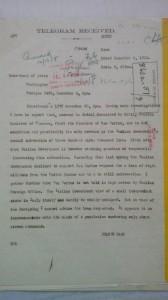 Immagine 5. Telegramma Protocollo Routine 2456 dell'ambasciatore Page al Dipartimento di Stato in cui comunica il riferimento del Ministro Italiano Nitti sulla richiesta di finanziamento ricevuta da San Marino, Carteggio dello US Department of State collocato presso la sede a College Park (MD) dei National Archives.