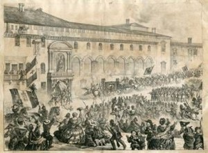 Il 12 giugno 1859 a Bologna in una stampa dell'epoca