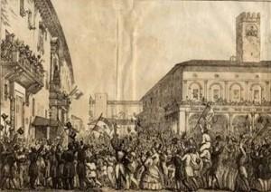 L'esultanza dei Bolognesi il 12 giugno 1859 in una stampa dell'epoca
