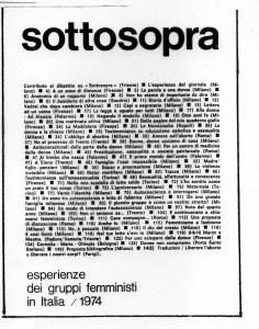 """Fig. 2 """"Sottosopra"""", n. 2, 1974. Fondata a Milano, era inizialmente pensata per raccogliere le esperienze dei diversi gruppi di donne"""