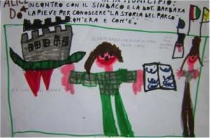 """Fig. 1. Alice D., La Barbara … aveva in mano tante carte, disegno dell'incontro di una classe (bambini/e di 5 anni) della Scuola d'infanzia """"Collodi"""" di Spinea (VE) con il sindaco e l'archivista del Comune per conoscere la storia del parco. Insegnanti C. Scanferla e A. De Pieri, anno scolastico 2005-2006."""