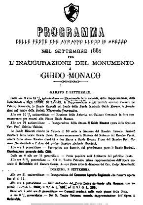 """""""Programma manifestazioni a Guido Monaco"""", Arezzo, 1882."""