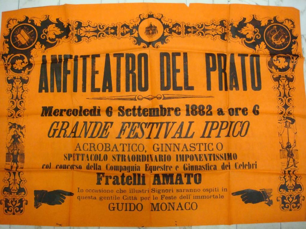 """""""Manifesto del Grande Festival Ippico"""", Arezzo, 1882."""