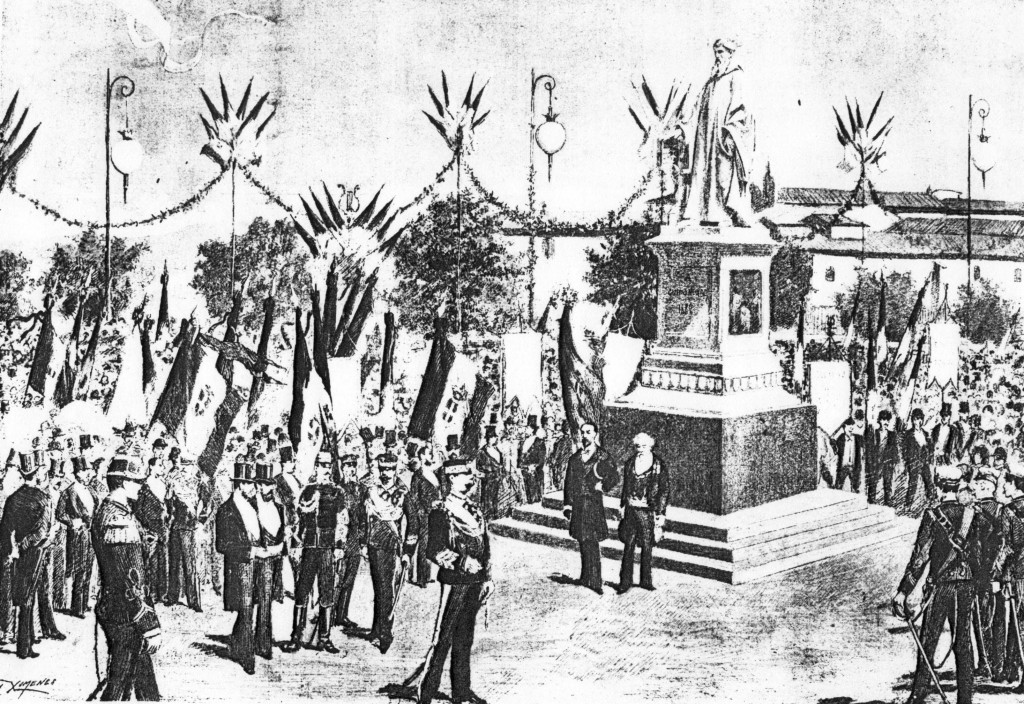 """""""Il re inaugura il monumento a Guido Monaco, Arezzo, 1882."""