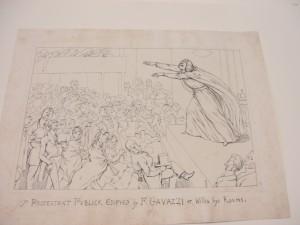 1. Padre Alessandro Gavazzi durante una predica in Inghilterra, disegno.