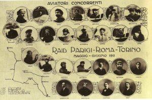Cartolina celebrativa del Raid Parigi-Roma-Torino (1911)
