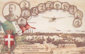 Cartolina dedicata alla Flottiglia degli aviatori volontari in Cirenaicartolina